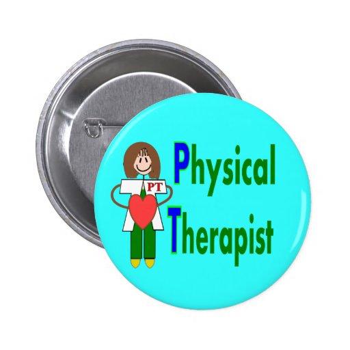 Camisetas y regalos del terapeuta físico pin redondo de 2 pulgadas