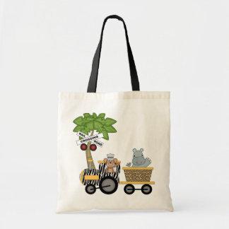 Camisetas y regalos del tren del mono y del hipopó bolsas lienzo