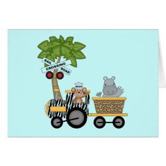 Camisetas y regalos del tren del mono y del hipopó tarjeta de felicitación