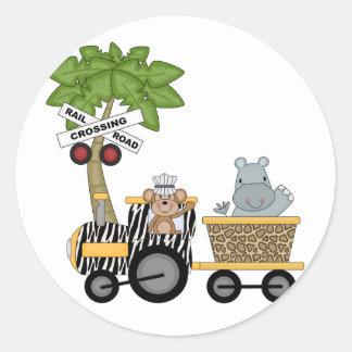 Camisetas y regalos del tren del mono y del etiquetas redondas