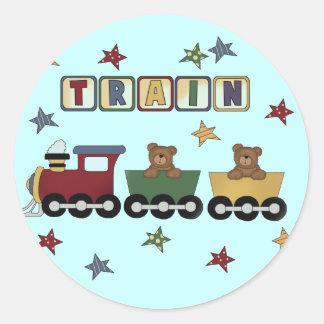 Camisetas y regalos del tren del oso de peluche etiquetas redondas
