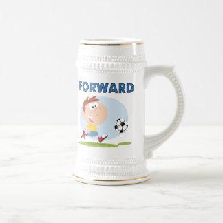 Camisetas y regalos delanteros del fútbol jarra de cerveza