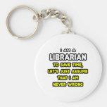 Camisetas y regalos divertidos del bibliotecario llavero personalizado