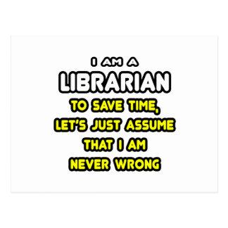 Camisetas y regalos divertidos del bibliotecario tarjeta postal