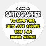Camisetas y regalos divertidos del cartógrafo pegatinas redondas