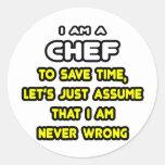 Camisetas y regalos divertidos del cocinero pegatina redonda
