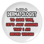 Camisetas y regalos divertidos del dermatólogo platos para fiestas