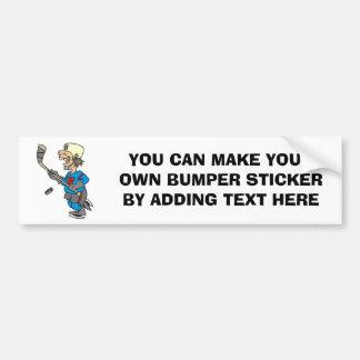 Camisetas y regalos divertidos del jugador de hock pegatina para auto