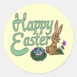 Camisetas y regalos felices de Pascua Etiquetas Redondas