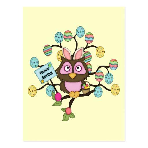 Camisetas y regalos felices del búho de Pascua de  Postales