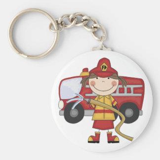 Camisetas y regalos femeninos del bombero llavero redondo tipo pin