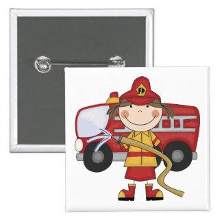 Camisetas y regalos femeninos del bombero pin cuadrada 5 cm