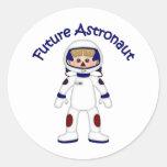 Camisetas y regalos futuros adorables del astronau pegatinas redondas