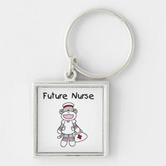 Camisetas y regalos futuros de la enfermera del mo llavero cuadrado plateado
