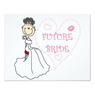 Camisetas y regalos futuros de la novia del pelo invitación 10,8 x 13,9 cm