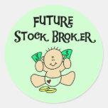 Camisetas y regalos futuros del agente de bolsa pegatinas redondas