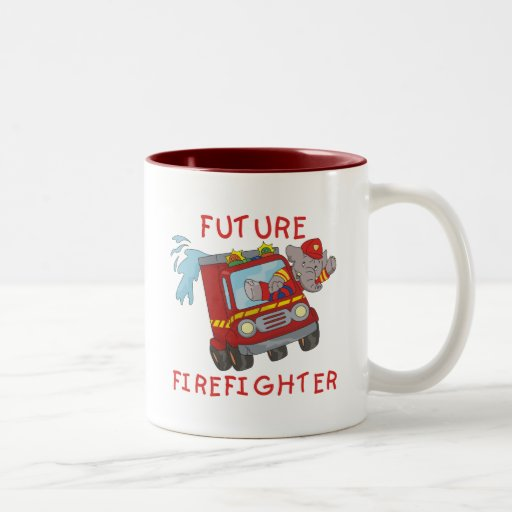 Camisetas y regalos futuros del bombero del elefan taza