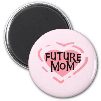 Camisetas y regalos futuros del corazón del rosa d imán redondo 5 cm