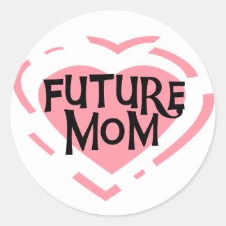 Camisetas y regalos futuros del corazón del rosa pegatina redonda
