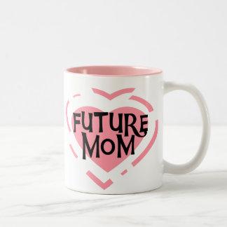 Camisetas y regalos futuros del corazón del rosa taza de café de dos colores