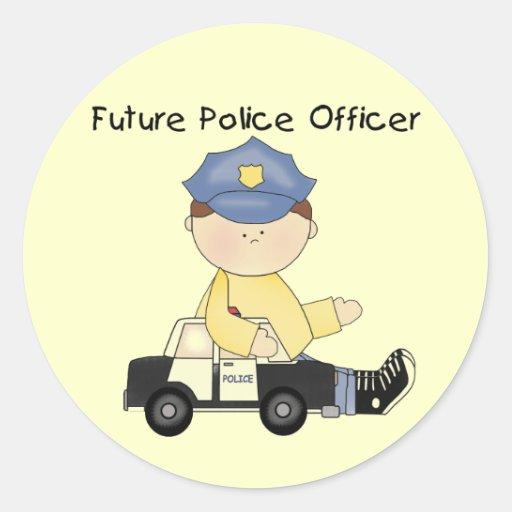 Camisetas y regalos futuros del oficial de policía etiquetas redondas