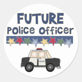 Camisetas y regalos futuros del oficial de policía pegatina redonda