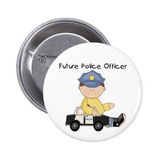Camisetas y regalos futuros del oficial de policía pin redondo 5 cm