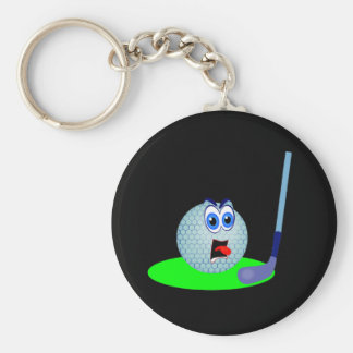 Camisetas y regalos infelices de la pelota de golf llavero redondo tipo pin
