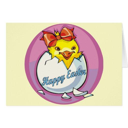 Camisetas y regalos lindos del polluelo de Pascua Tarjeta De Felicitación