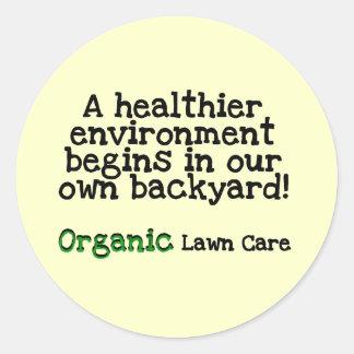 Camisetas y regalos orgánicos del cuidado del pegatinas redondas