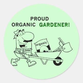 Camisetas y regalos orgánicos orgullosos del etiquetas redondas