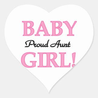 Camisetas y regalos orgullosos de la tía niña pegatina en forma de corazón