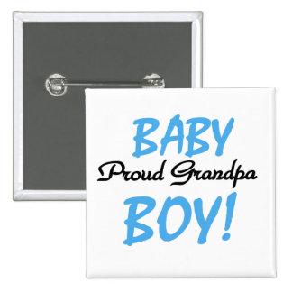 Camisetas y regalos orgullosos del bebé del abuelo pin cuadrada 5 cm