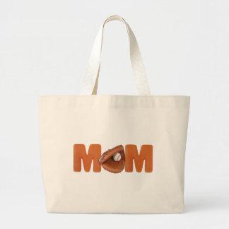 Camisetas y regalos para la mamá del béisbol bolsa tela grande