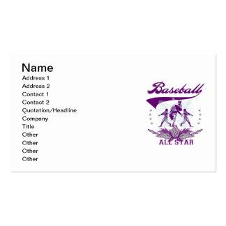 Camisetas y regalos púrpuras de All Star del béisb Tarjeta De Negocio