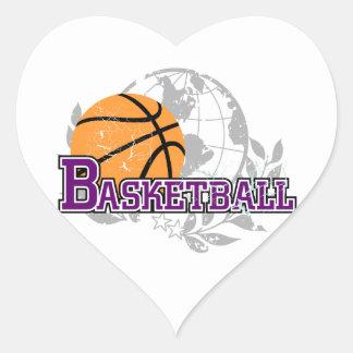 Camisetas y regalos púrpuras del baloncesto pegatina corazon personalizadas