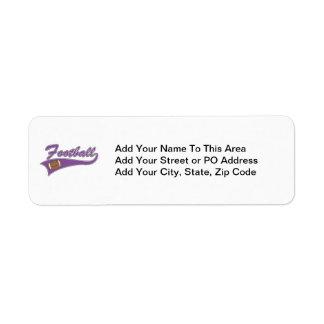 Camisetas y regalos púrpuras del fútbol del equipo etiqueta de remite