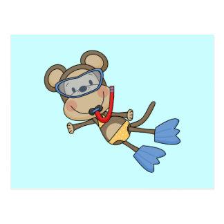 Camisetas y regalos que bucean del mono de la postal