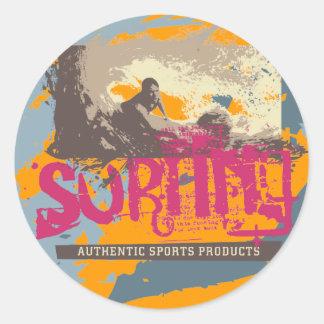 Camisetas y regalos que practican surf auténticos pegatina redonda