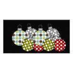Camisetas y regalos retros de las bolas del navida tarjetas fotográficas personalizadas