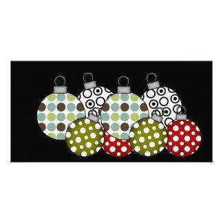 Camisetas y regalos retros de las bolas del navida tarjetas fotográficas