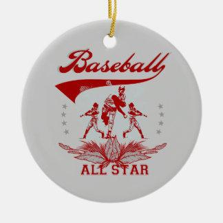 Camisetas y regalos rojos de All Star del béisbol Adorno Navideño Redondo De Cerámica