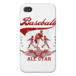 Camisetas y regalos rojos de All Star del béisbol iPhone 4 Coberturas