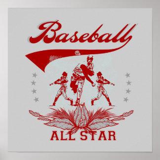 Camisetas y regalos rojos de All Star del béisbol Posters