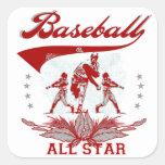 Camisetas y regalos rojos de All Star del béisbol Pegatina Cuadradas