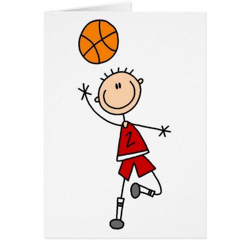 Camisetas y regalos rojos del baloncesto de los mu tarjeta