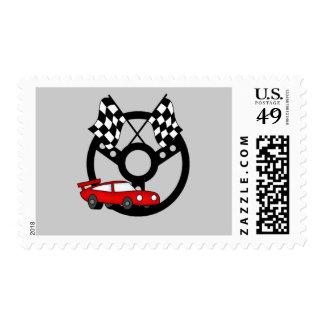 Camisetas y regalos rojos del coche de carreras sellos
