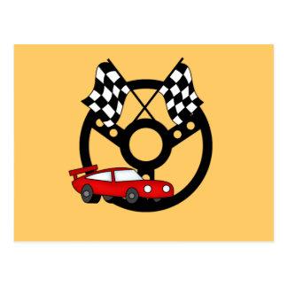 Camisetas y regalos rojos del coche de carreras tarjetas postales