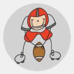 Camisetas y regalos rojos del futbolista pegatina redonda