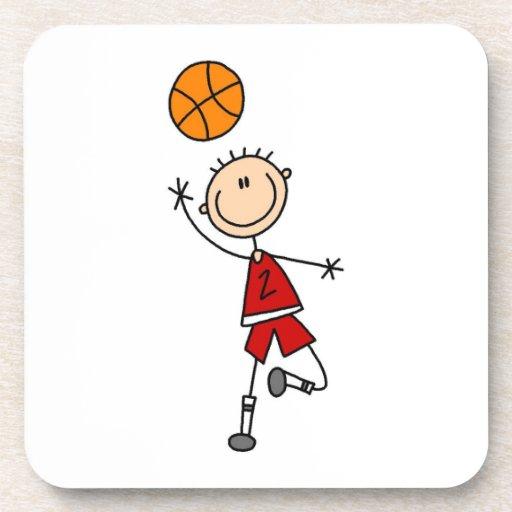 Camisetas y regalos rojos del jugador de básquet d posavaso